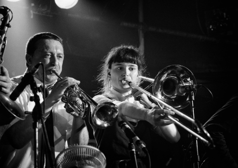 Part Of The Horn Section. Bombskare at Studio 24, Edinburgh. Photo by and copyright of Paul Henni.