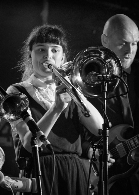 Izzy The Trombonist. Bombskare at Studio 24, Edinburgh. Photo by and copyright of Paul Henni.